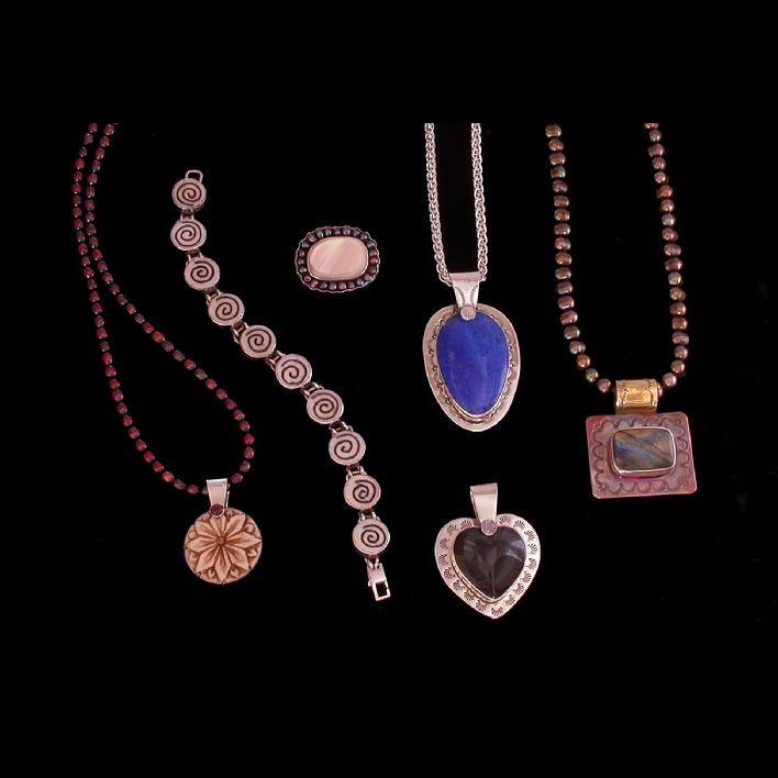 """Handmade Sterling Silver Jewelry by Cheryl Lynn with semi-precious stones,Lapis,Labradorite,pearls and natural materials"""
